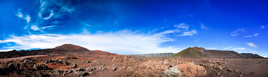 Reunion National Park. Panoramic scenic view of road on volcanic landscape of the Plaine des Sables, Reunion Island Stock Image