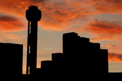 Reunion tower Dallas at sunset Stock Images