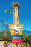 Reunion Tower at downtown Dallas, TX. DALLAS - APRIL 16: Downtown of Dallas with Reunion Tower on April 16, 2014 in Dallas, Texas. It is a 561 ft (171 m) Royalty Free Stock Photo