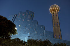 Reunion Tower at Dusk, Dallas, TX. Reunion Tower and Modern Hotel in Downtown Dallas at Dusk, Texas Stock Photo