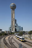 Reunion tower  and light rail train. Reunion tower and light rail train in city Dallas, TX USA Stock Photography