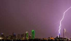 Reunion Tower Lightning Strike Royalty Free Stock Images