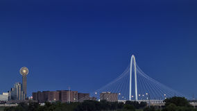 Reunion Tower and Margaret Hunt Hill Bridge, Dallas Royalty Free Stock Image