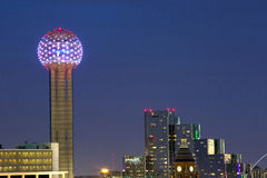 Reunion Tower at Night Stock Images