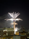 Reunion Tower Ring  with fireworks in city Dallas Royalty Free Stock Image