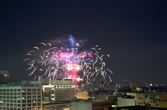 Reunion Tower Ring  with fireworks in downtown Dallas Royalty Free Stock Image