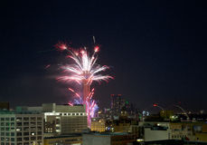 Reunion Tower Ring  with fireworks show Stock Image