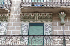Reus,Catalonia,Spain. Detail facade building, artistic modernist style, Ca Anguera, by architect Pere Caselles, Reus, Catalonia Stock Image