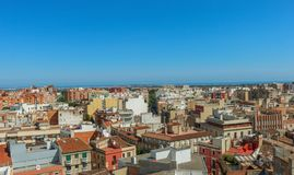 Cityscape of Reus, taken from the Prioral de Sant Pere. Shoot in June 2018. Reus, located west of Tarragona, is the birthplace of the famous Spanish architect stock photos