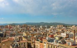 Cityscape of Reus, taken from the Prioral de Sant Pere. Shoot in June 2018. Reus, located west of Tarragona, is the birthplace of the famous Spanish architect stock images