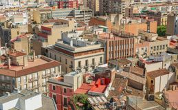 Cityscape of Reus, taken from the Prioral de Sant Pere. Shoot in June 2018. Reus, located west of Tarragona, is the birthplace of the famous Spanish architect royalty free stock photos