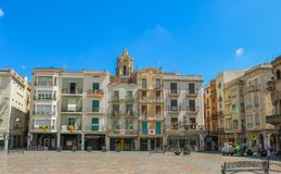 Plaça mercadal, the city center of Reus, Spain. Shoot in June 2018. Reus, located west of Tarragona, is the birthplace of the famous Spanish architect Antonio stock photos