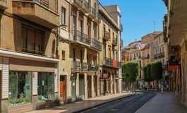 Street in Reus, Catalonia. Shoot in June 2018. Reus, located west of Tarragona, is the birthplace of the famous Spanish architect Antonio Gaudi stock photography
