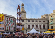 REUS, SPAIN - APRIL 23, 2017: Castells Performance. stock photography