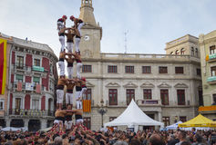 REUS, SPAIN - APRIL 23, 2017: Castells Performance. stock photo