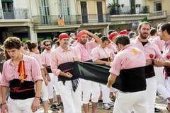 REUS SPANIEN - OKTOBER 25, 2014: Den Castells kapaciteten, en castell är ett mänskligt torn som traditionellt byggs i festivaler  royaltyfria bilder