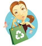 Reusable bag. Woman promoting reusable grocery bag Stock Images