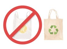 Reusable cloth bag instead of plastic bag. Shopping bags. Zero waste tips. Eco lifestile. Stop using plastic royalty free illustration