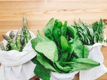 Reusable eco friendly bag with fresh asparagus, arugula,spinach on wooden table, top view. Zero waste grocery shopping concept. Ban plastic. Choose plastic stock photos
