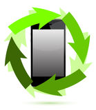 Reusable electronic with green arrows Royalty Free Stock Image