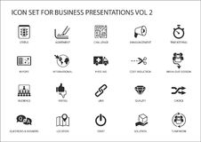 Reusable generic icon set for business presentations and slides with flag design.  vector illustration