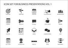 Reusable generic  icon set for business presentations and slides with flag design Stock Photos