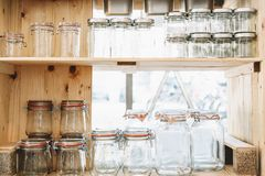 Free Reusable Glass Jars In Zero Waste Shop Or Plastic Free Store Royalty Free Stock Photo - 160404455