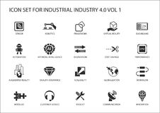 Reusable icon set for industry 4.0 Stock Images