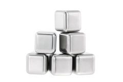 Reusable and non diluting stainless steel chilling fake ice cube Royalty Free Stock Image