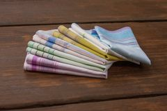 Reusable 100 percent cotton handkerchiefs. Using reusable textile, pure cotton colourful handkerchiefs for blowing nose instead of single use paper tissues Royalty Free Stock Photos