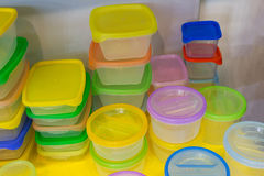 Reusable plastic container on the counter Stock Photo