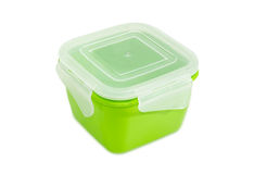 Reusable plastic food storage container for home use Stock Photos