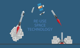 Reusable rocket stages of flight and landing. Space technology infographic. Royalty Free Stock Photo