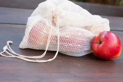 Homemade reusable shopping bag for fruits and vegetables. Reusable textile shopping bag meant to minimise waste while buying healthy food Royalty Free Stock Image