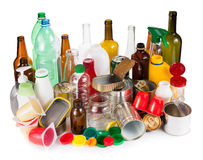 Reusable wastes. Segregated metal, plastic and glass stock photos