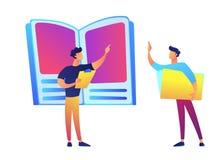 Reusachtig boek, leraar het richten en studenten vectorillustratie vector illustratie