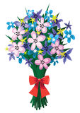 Reusachtig boeket van de lentebloemen met rode boog Stock Fotografie