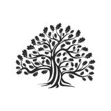 Reusachtig en heilig eiken die het embleemkenteken van het boomsilhouet op witte achtergrond wordt geïsoleerd royalty-vrije illustratie