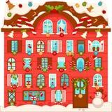 Reusachtig Kerstmishuis met partij van grote genummerde vensters vector illustratie