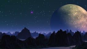Reusachtig planeet en UFO stock illustratie
