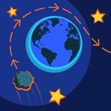 Reusachtig stervormig Florence vliegt naast de aarde De waarschijnlijkheid van een catastrofe wereldwijd royalty-vrije illustratie