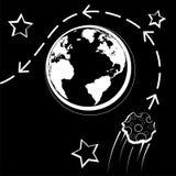 Reusachtig stervormig Florence vliegt naast de aarde De waarschijnlijkheid van een catastrofe wereldwijd vector illustratie