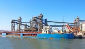 Reusachtig vrachtschip bij haven Royalty-vrije Stock Afbeeldingen