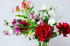 Reusachtige bos van pioenen en anderen de lentebloemen in vaas op wit royalty-vrije stock fotografie