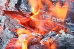 Reusachtige brand met de brandende rode vlam, de smeulende stukken van steenkool van hout en met een kleine hoeveelheid rook stock foto
