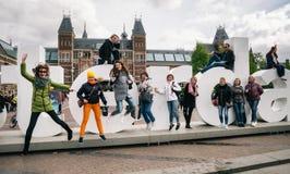 Reusachtige brieven I Amsterdam - symbool van stad royalty-vrije stock afbeelding