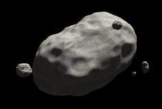 Reusachtige die komeet met kraters over zijn oppervlakte worden verspreid, die door ruimte slingeren Stock Afbeelding