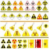 Reusachtige het pictograminzameling van het gevaarssymbool Stock Foto