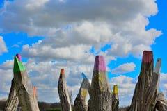 Reusachtige houten polen Stock Fotografie