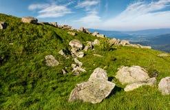 Reusachtige keien op een grasrijke helling in bergen Stock Foto